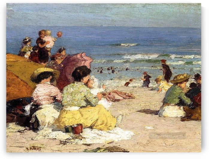 People relaxing by the beach by Edward Henry Potthast