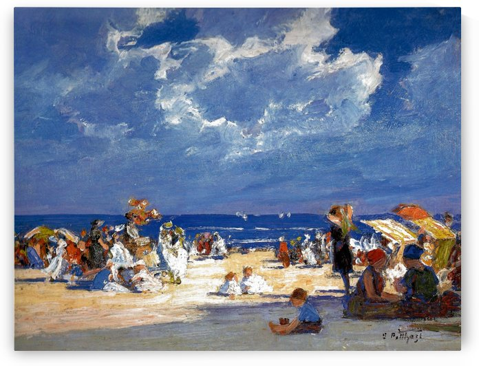 People by the beach by Edward Henry Potthast