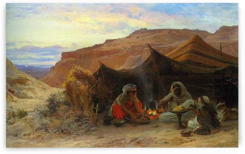 Bedouins dans le desert by Eugene Alexis Girardet