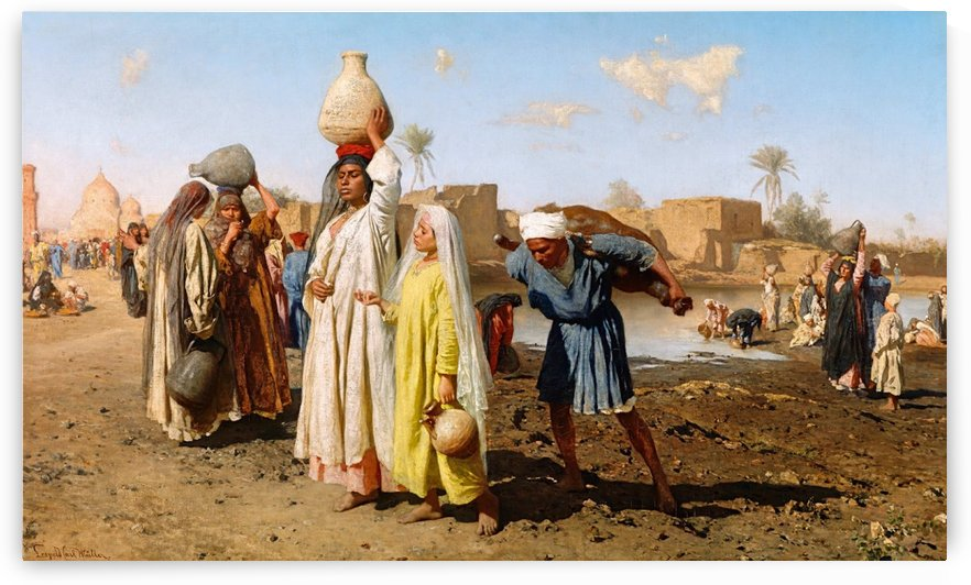 Washerwomen on the banks of the Nile with pots by Eugene Alexis Girardet