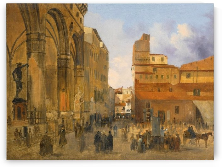 Florence, A View of the Piazza della Signoria with the Loggia dei Lanzi at left by Ippolito Caffi