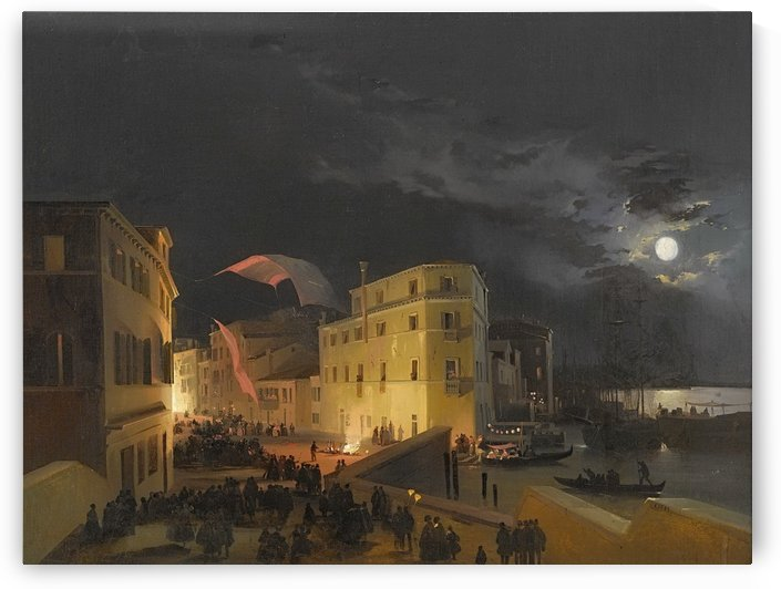 Venice, Nocturnal Festivities on the Via Eugenia by Ippolito Caffi
