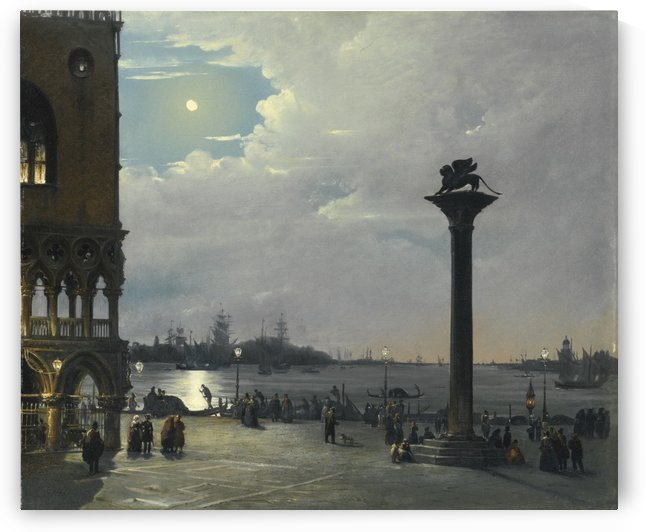 Venice, a nocturnal view of Piazza San Marco with The Ducal Palace by Ippolito Caffi
