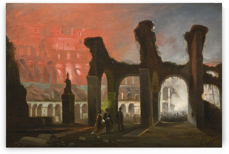 The interior of the Colosseum illuminated by fireworks by Ippolito Caffi