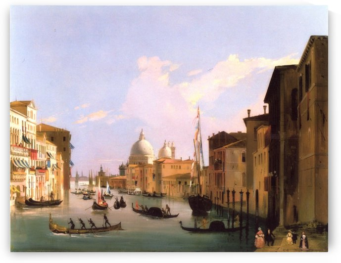 View of The Grand Canal with St Maria della Salute, Venice by Ippolito Caffi