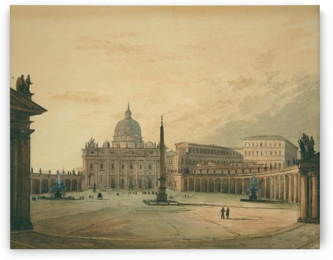 View of Saint Peter Square by Ippolito Caffi