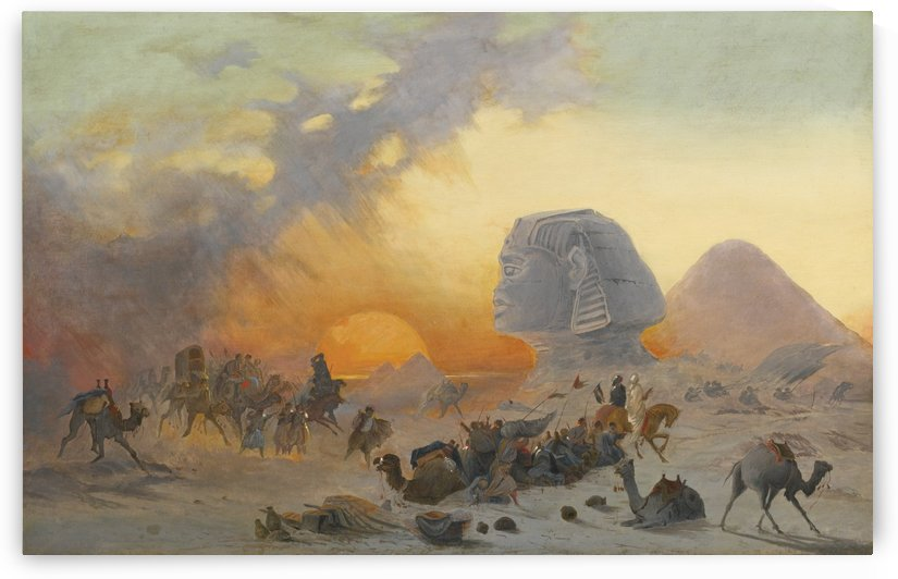 A caravan fleeing from a desert simoom near the sphinx by Ippolito Caffi