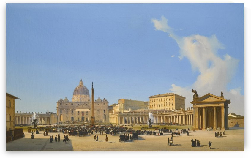 A view of Saint Peter's Basilica and square with crowds awaiting a papal audience by Ippolito Caffi