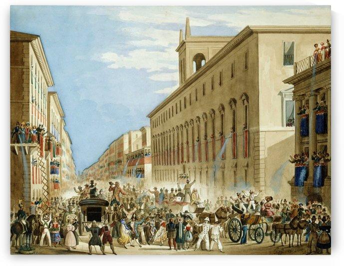 Carnival in Rome by Ippolito Caffi