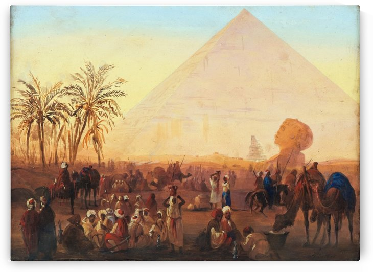 Caravan having a break at the pyramids by Ippolito Caffi