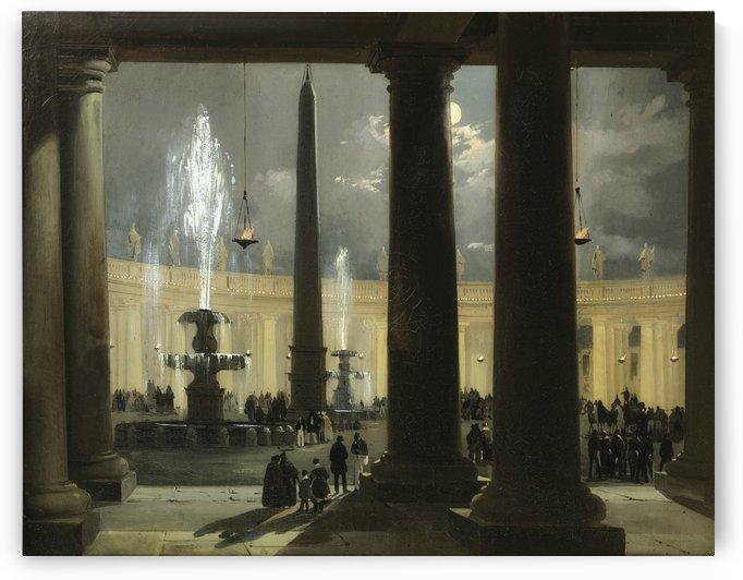 La place saint Pierre de Rome au clair de lune by Ippolito Caffi