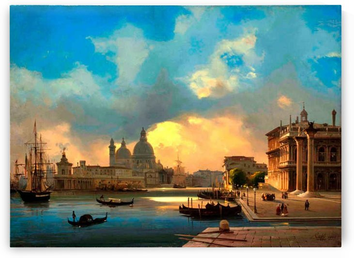 Venice, Molo at sunset by Ippolito Caffi