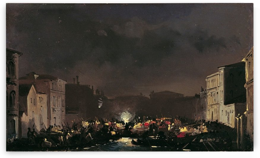 Nocturnal view of Venice by Ippolito Caffi
