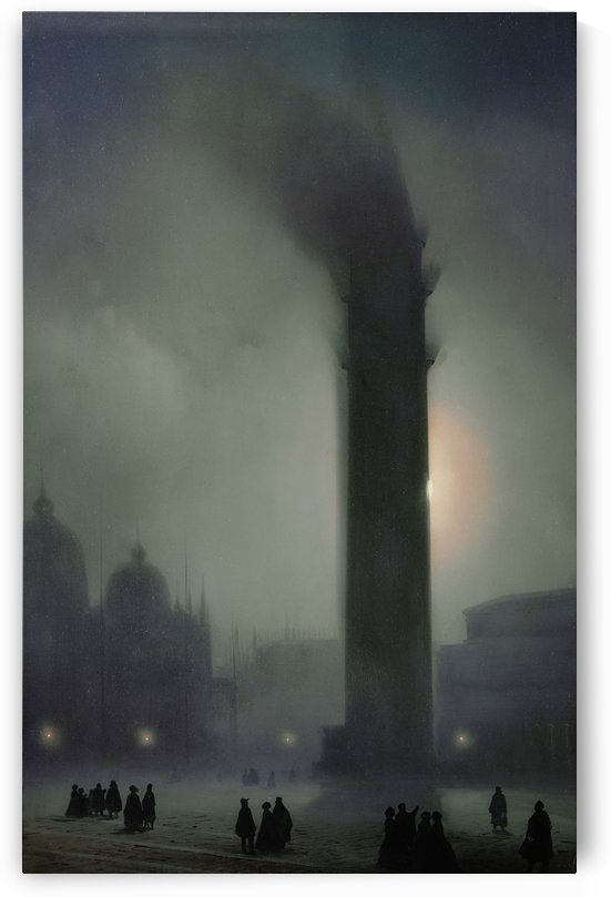 Night with fog in Piazza San Marco by Ippolito Caffi