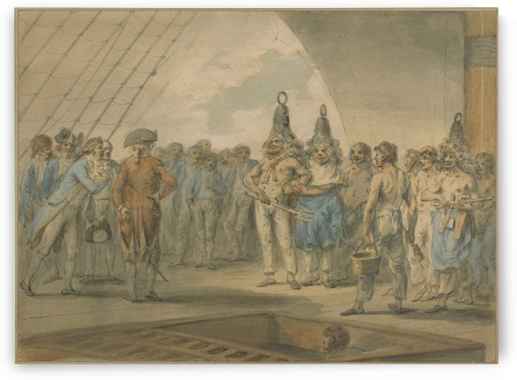 Crossing the Line Ceremony on Board the Ship by Julius Caesar Ibbetson