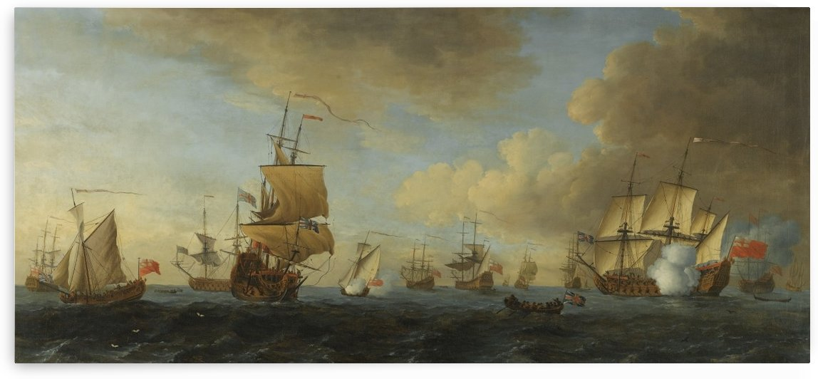 An English frigate under sail firing a gun by John Cleveley the Elder