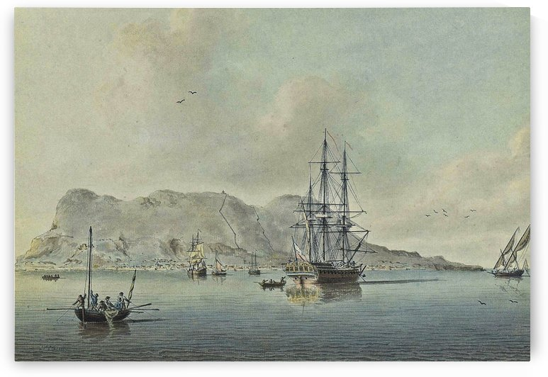 A naval lugger approaches a frigate by John Cleveley the Elder