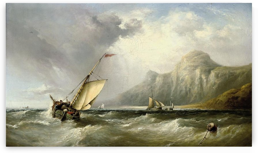 Fishing vessels in an offshore breeze by Ebenezer Colls