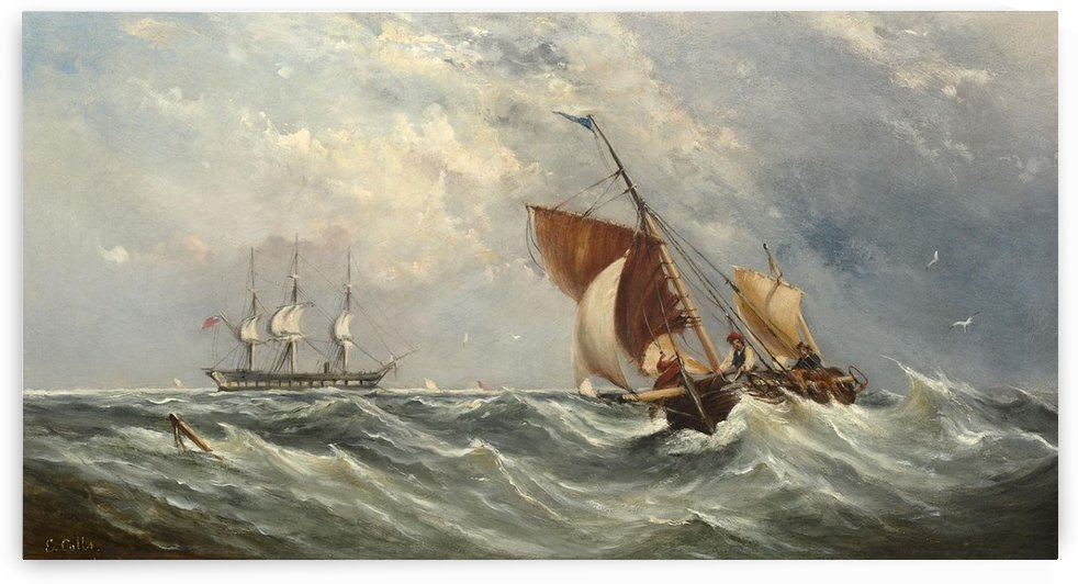Sailboats in a squall by Ebenezer Colls