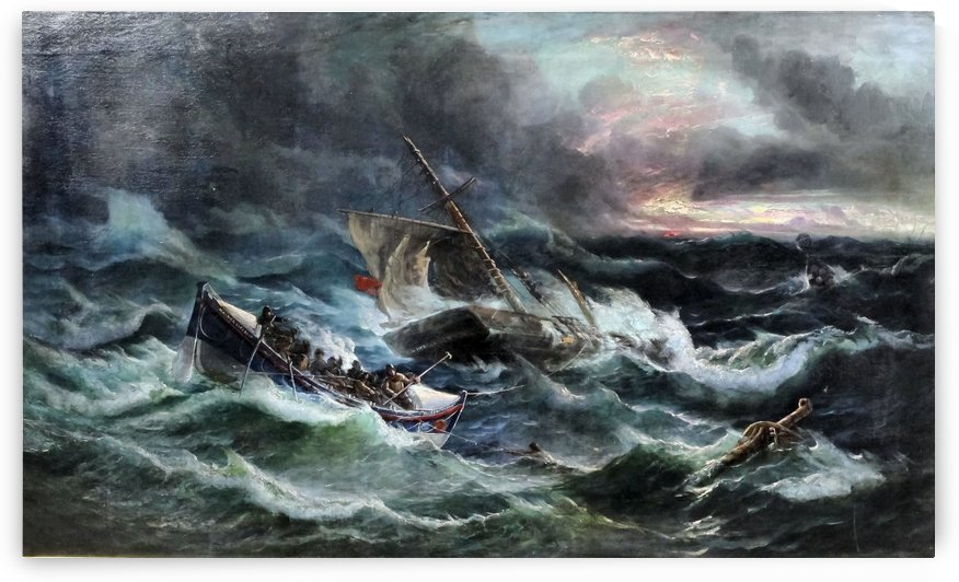Boats in the storm by Ebenezer Colls