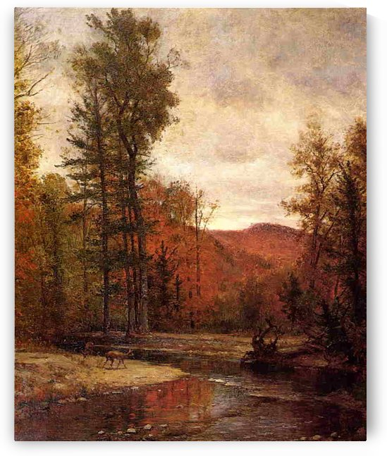 Adirondack Woodland with Two Deer 1880-1889 by Thomas Worthington Whittredge