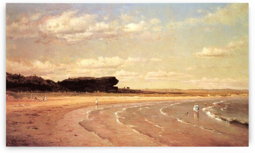 Second Beach Newport in sunset by Thomas Worthington Whittredge