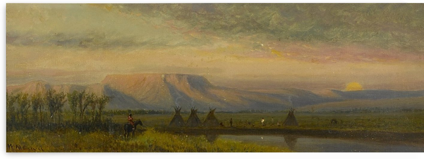 Sunset Beyond an Indian Encampment with Teepees by William de la Montagne Cary