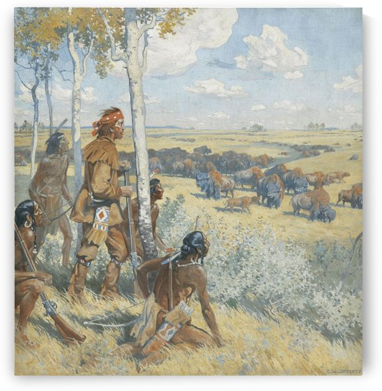 Indians watching the buffalos by William de la Montagne Cary