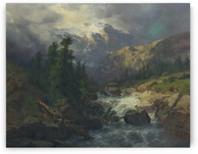 River on a stormy day by Alexandre Calame