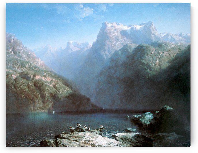 Lake between the cliffs by Alexandre Calame