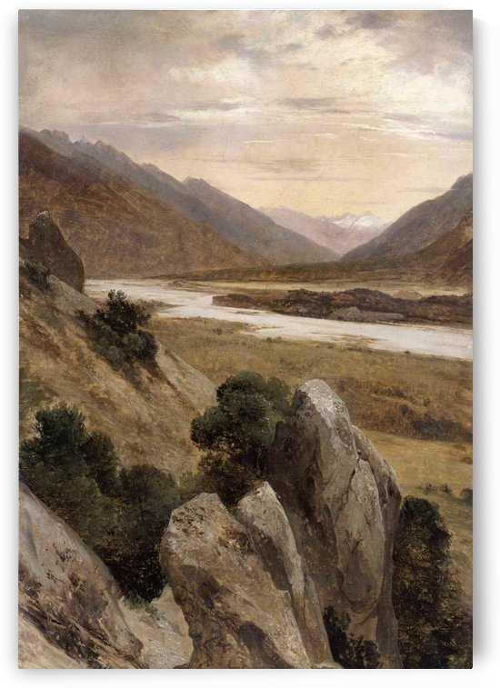 Mountainous Riverscape by Alexandre Calame