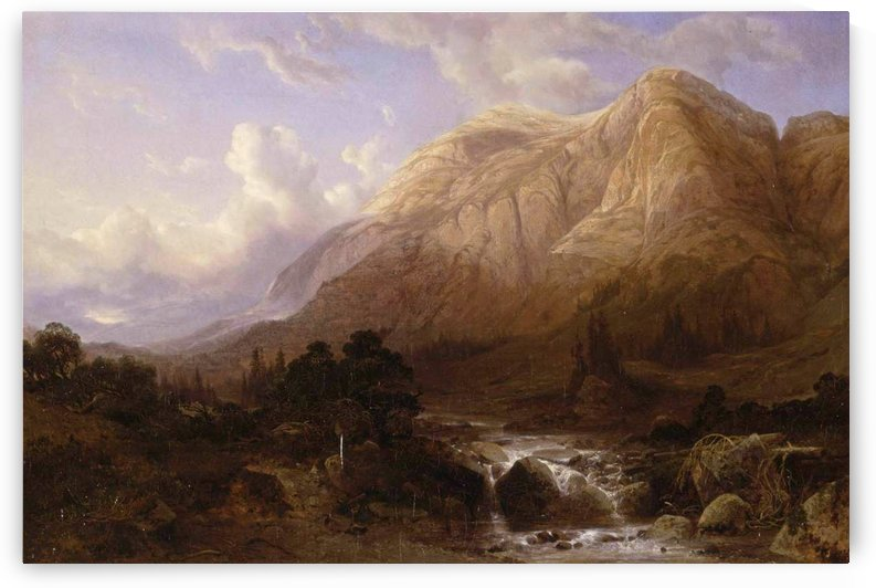 Mountainous Landscape with a Torrent by Alexandre Calame