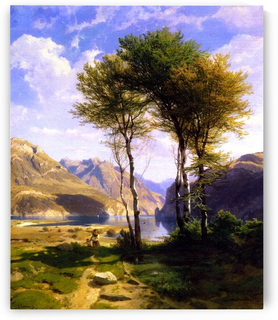 Landscape of two trees by Alexandre Calame