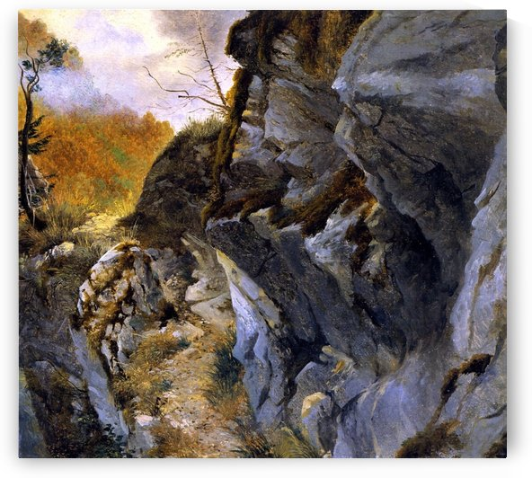 Landscape with cliffs by Alexandre Calame