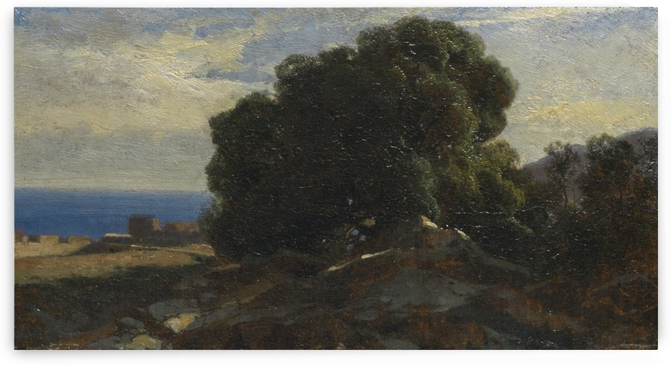 A large tree by the sea by Alexandre Calame