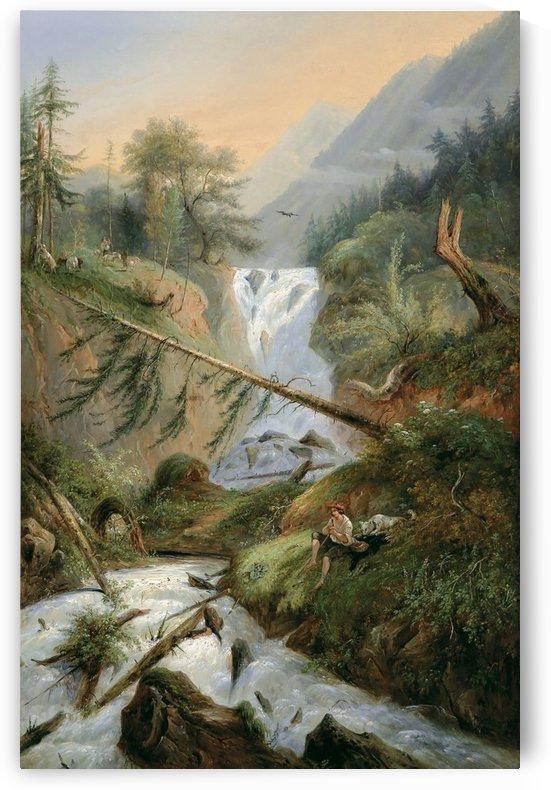 Berger se reposant pres d'une Cascade by Alexandre Calame