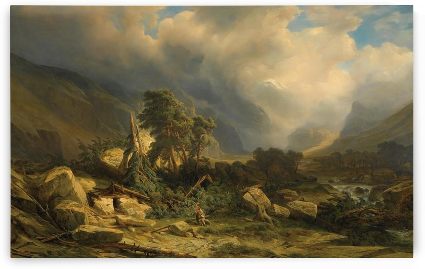 Landscape with fallen trees by Alexandre Calame