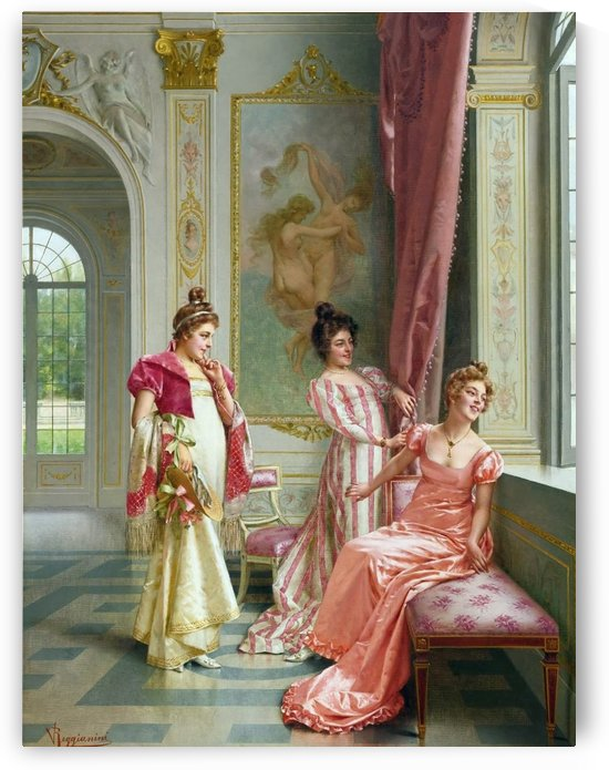 Three ladies gazing at the window by Frederic Soulacroix