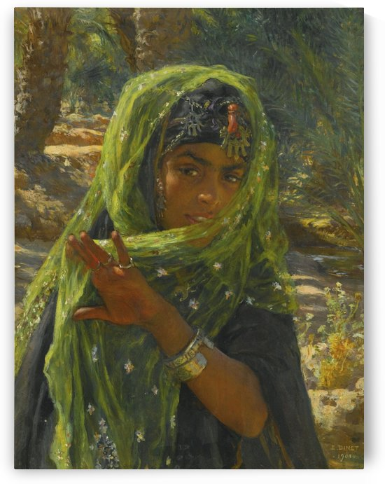 A girl with her scarf by Etienne Dinet