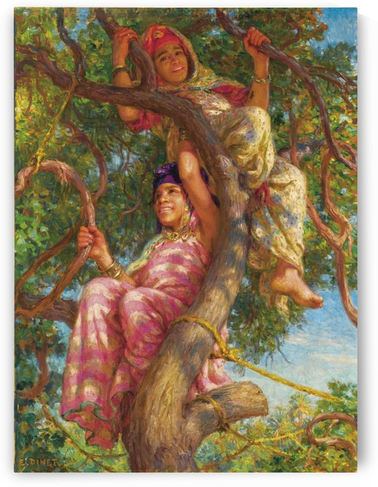 Two girls in a tree by Etienne Dinet