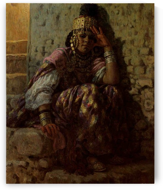 A woman sitting on the stairs by Etienne Dinet
