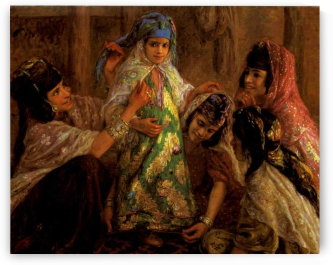 Children preparing for a party by Etienne Dinet