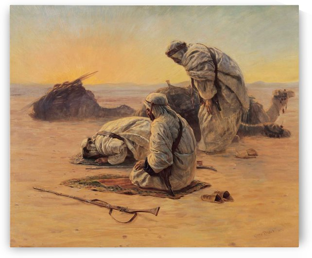 Soliders praying by Etienne Dinet