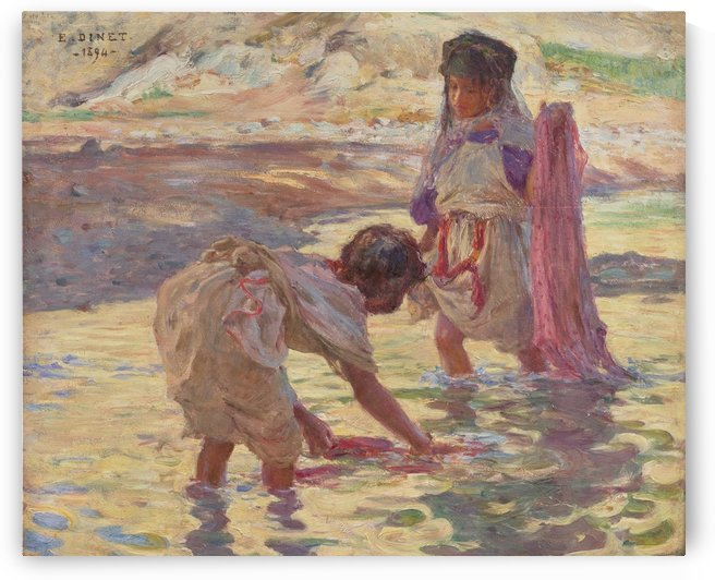 Children playing in the water by Etienne Dinet