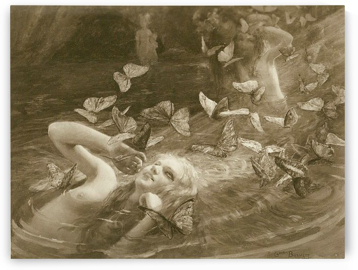 A girl surrounded by butterflies by Gaston Bussiere