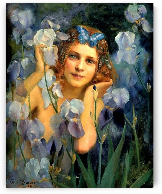 A girl in a field of flowers by Gaston Bussiere