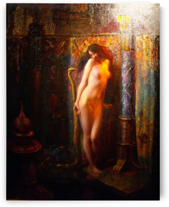 Nude woman and her serpent by Gaston Bussiere