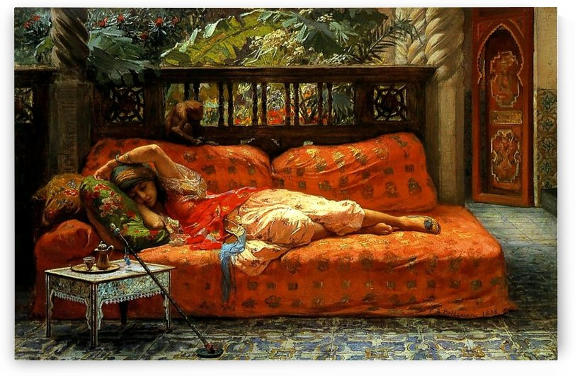 An Oriental woman resting by Gaston Bussiere