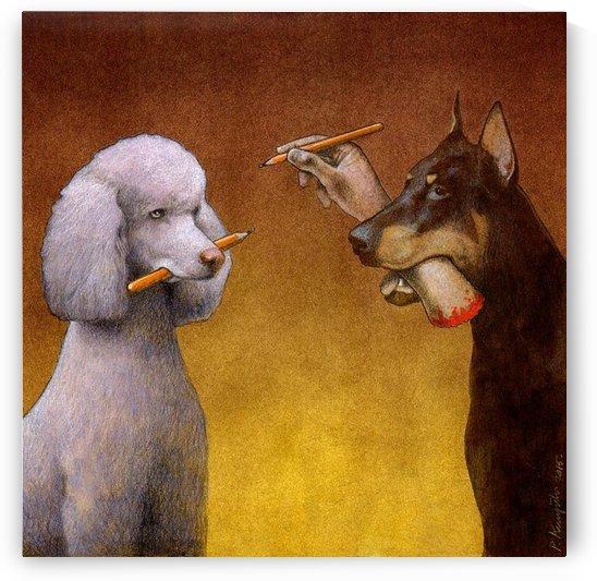 Dogs play by Pawel Kuczynski