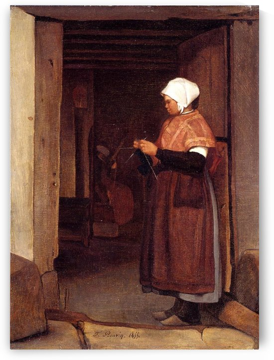 Peasant knitting by Francois Bonvin